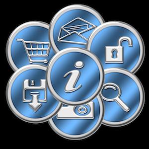 Sleek chrome & blue website buttons.