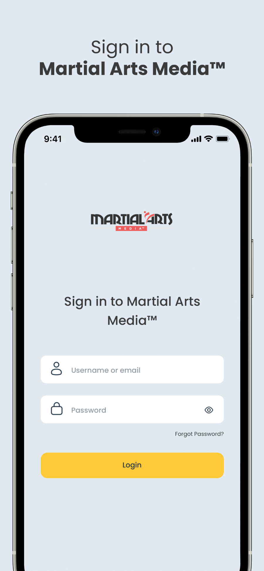 Martial Arts Media™ App Welcome Screen